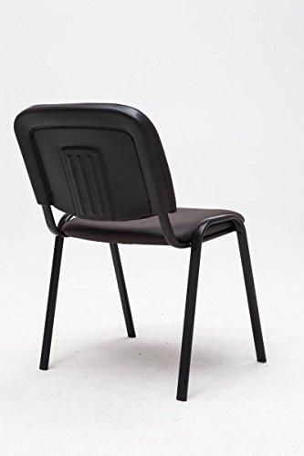 CLP Besucherstuhl KEN mit hochwertiger Polsterung und Kunstlederbezug | Stapelstuhl mit robustem Metallgestell und gepolsterter Rückenlehne | Maximale Belastbarkeit: 120 kg Braun - 3