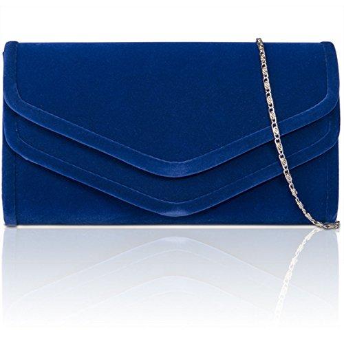 xardi nuovo in finta pelle scamosciata Donna Frizione Borsa Designer partito di sera Borse da Regno Unito royal Blue