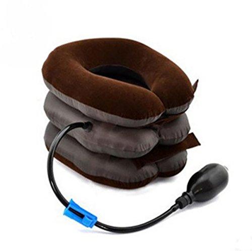G&M Dispositif de collier Traction cervicale cou Lnflatable pour tête et cou épaule dos maux relaxer Kit périphérique , coffee color