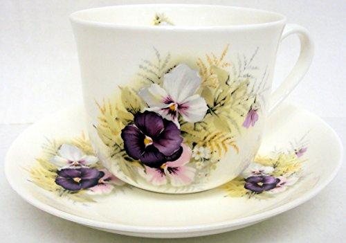 Pensées & Soucoupe tasse petit-déjeuner en porcelaine (grande tasse pensée & Soucoupe décorée à la main en forme de U. K. De la livraison gratuite Pansy Bone China