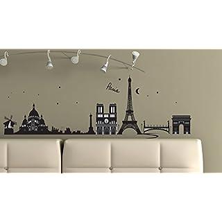 Sticker für Wand – Wandtatoos für Kinderzimmer, Wohnzimmer, Schlafzimmer, Babyzimmer - Wanddeko Modern – 2 x 70x50cm Wandsticker Deko Set Folien Paris