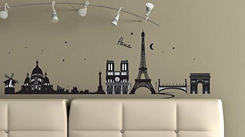 Wandtatoos für Kinderzimmer, Wohnzimmer, Schlafzimmer, Babyzimmer - Wanddeko Modern - 2 x 70x50cm Wandsticker Deko Set Folien Paris ()