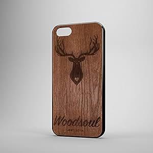 woodsoul avec housse étui coque en caoutchouc pour iPhone 5/5S en bois véritable et Cerf/Stag Gravure (Acajou)