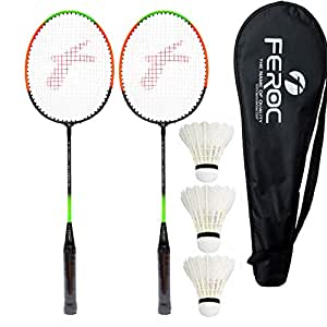 Feroc Aluminum Badminton -Racket Set of -2 with- 3 Pieces Feather shuttles with Full- Cover