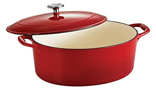 Tramontina Enameled Cast Iron Covered Oval Dutch Oven, 7-Quart, Gradated Red by Tramontina -