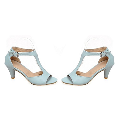 TAOFFEN Damen Sommer Classical T-Spangen Sandalen Mit Absatz Blau