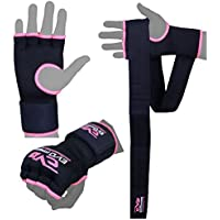 Evo Ladies Pink Elasticated Gel Gloves Boxing Wrist Hand Wraps Support Straps MMA Bag Inner Glove