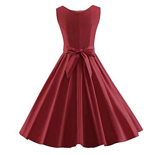 iLover classiques 50s rockabilly retro vintage cocktail swing partie robe plissée EU-V019-WineRed
