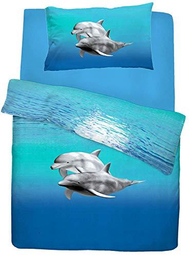 Blaue Twin-blatt Set (Delphin-Bettdecke Cover Set Blau Meerestier Gedruckt Qualitätsbettwäsche Doppelbett,Twin)