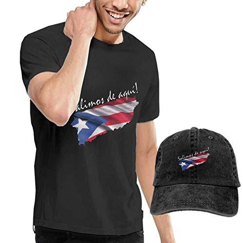 Kalinanai T-Shirts, T-Stücke, Salimos De AQU! Men's Cotton T-Shirt mit rundem Kragen und Verstellbarer Baseballkappe (Wie Aqu)