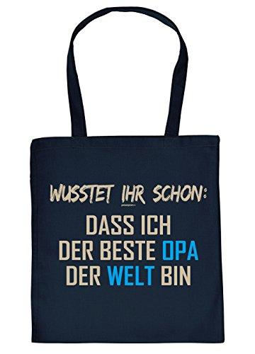 Opa Geschenk-Tasche - Sprüche Baumwolltasche Opi : Wußtet ihr schon: dass ich der beste Opa der Welt bin -- Einkaufstasche Geschenktasche Großvater --Farbe: Navyblau