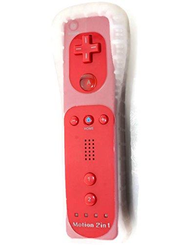 AMGGLOBAL Integriert in Motion Plus Fernbedienung Für Nintendo WII Fern WII GRATIS SILIKON HÜLLE PINK SCHWARZ BLAU WHIE ROT DARKNESS blau - Rot