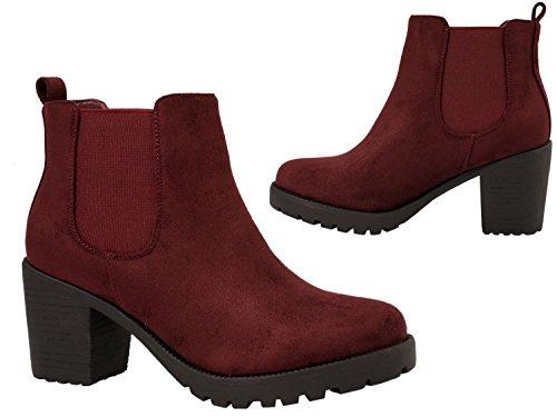 Elara Ankle Boots | Trendig Bequeme Damen Stiefeletten | Plateau Blockabsatz Wine