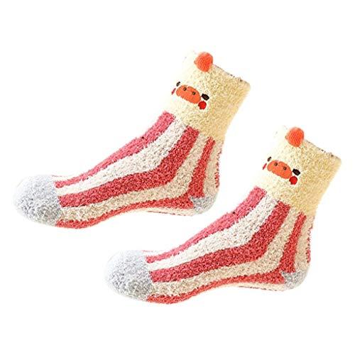 (XuxMim Winter-Karikatur-warmer Schlaf-Socken-Handtuch-Socken-Fußbodensocken-korallenrote Samt-Verdickung)