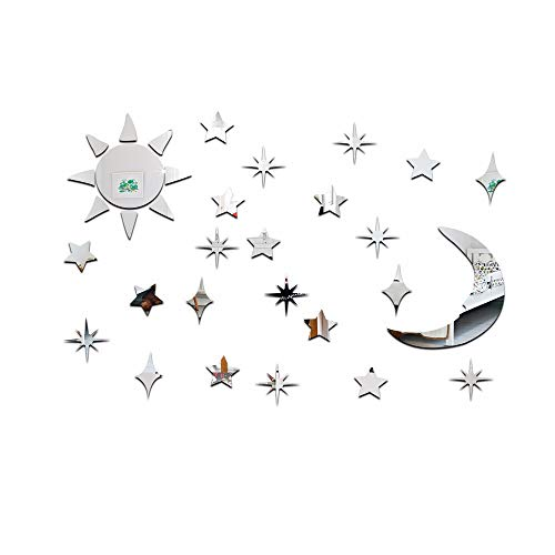 JZHQT Adhesivo de Pared Acrílico Sol, Luna, Estrella Espejo Decoración del hogar, Plateado