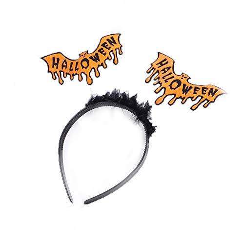 Halloween Stirnband Fledermaus mit Wort Halloween Feder-Stirnband-Abendkleid-Damen Fluffy Glitzer-Haarband für Halloween-Kostüm-Party-Zubehör Bat Art-orange und schwarz
