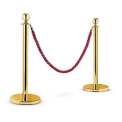 oneConcept Golden Gate Poteaux de guidage (partition VIP pour file d'attente, 2 poteaux, 1 cordon torsadé, max. 1,5m) - doré & rouge