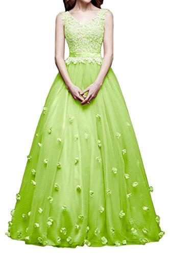Victory Bridal Anmutig Spitze V-ausschnitt Stoffblumen Prinzess A-linie Abendkleider Ballkleider Partykleider Lang Apfel Gruen