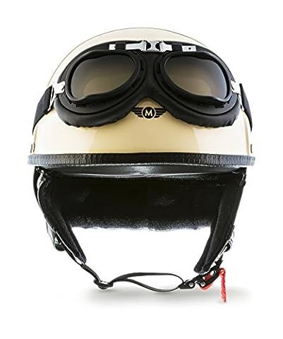 "MOTO · D22-Set ""Creme"" (Gelb) · Jet-Helm · Scooter-Helm Mofa Retro Roller Chopper Motorrad-Helm · L (59-60cm)"