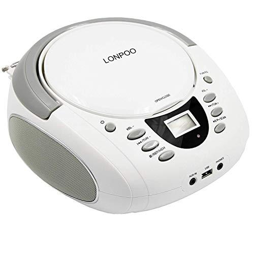 Radio-CD für Kinder Bluetooth Boombox Tragbare CD-Player mit UKW-Radio,USB Eingang, Aux-in, Kopfhörer, 2 x 2Watt RMS Stereoanlage, Netz/Batterie, Weiß