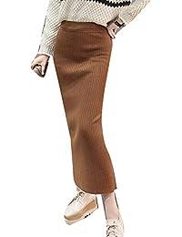 Guiran Mujer Invierno Cintura Alta Elegantes Midi Elasticidad Lapiz Faldas  De Punto Caqui Un tamaño f0209657b421