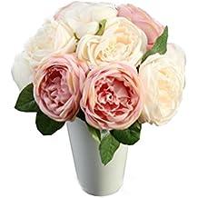 Ineternet 1* Bouquet 5 Têtes Fleurs Artificielles de Roses feuilles Floral mariage Bouquet parti maison décoration