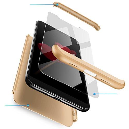 Funda Xiaomi Mi Mix 2s Oro,Case Mi Mix 2s Ultra Fina Carcasa 360°Complete Package Protectora Caja Anti-Dactilares PC Hard Cover Bumper Skin cojín Compatible Xiaomi 3D 9H Vidrio Templado