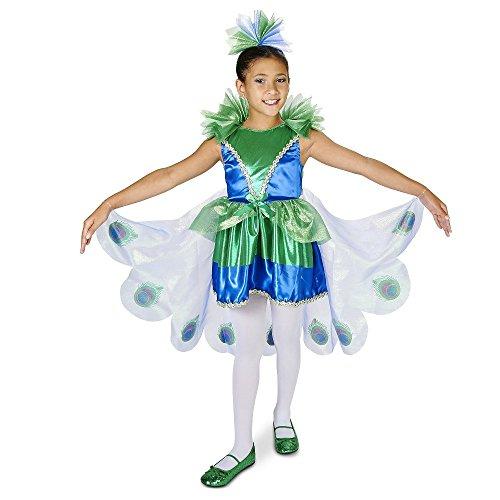 Peacock Pfau Deluxe Kinder Mädchen Halloween Fasching Karneval Kostüm (Medium (Kostüme Tinkerbell Deluxe)