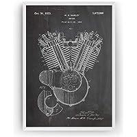 Harley Davidson Motor Poster de Patente Patent Póster Con Diseños Patentes Decoracion de Hogar Inventos Carteles Prints Wall Art Posters Regalos Decor Blueprint - Marco No Incluido