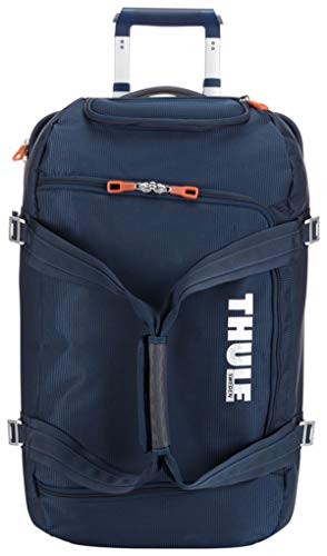 Thule Reisetrolley Tasche Doppeldecker Crossover Rolling Duffel 56L Navy Blau + Adressanhänger Bowatex