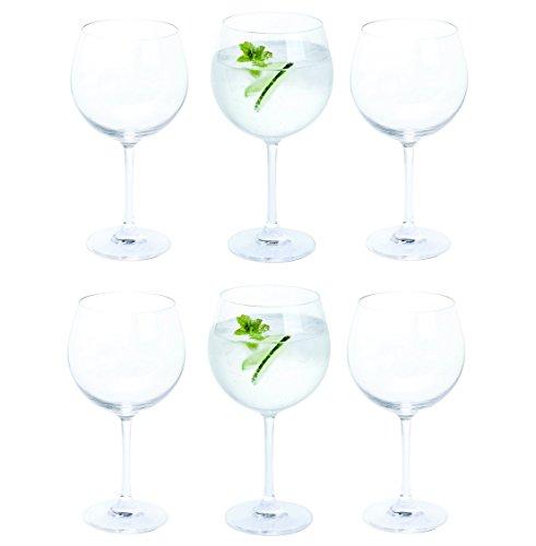 Valor caja de 6Bar Amigos® Everyday Classic Essentials copa gin y Tonic gafas | G & T Copa gran globo de tallo de cristal | cristal sin plomo | se puede lavar en lavavajillas | 650ml