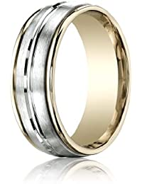 14ct 2 Colour Gold, 8mm Comfort-Fit Polished Center Band (sz H to Z5)