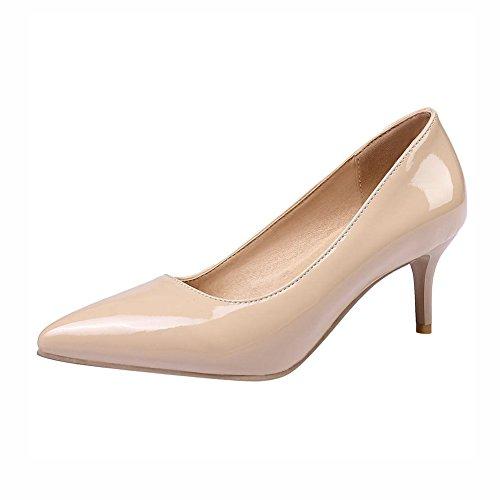 Agodor Damen Spitze Stiletto High Heels Pumps mit 6cm Absatz Elegant Lackleder Büro Freizeit Schuhe