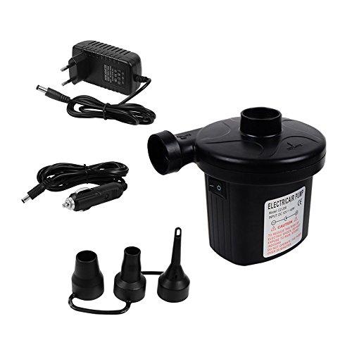 12V / 220V (2 Stecker) Elektrische Luftpumpe mit 3 Verbindungsdüsen für Zigarettenanzünder im Auto und Hause Inflator / Deflator Elektropumpe Bootspumpe für Luftbett Luftboot Reisen