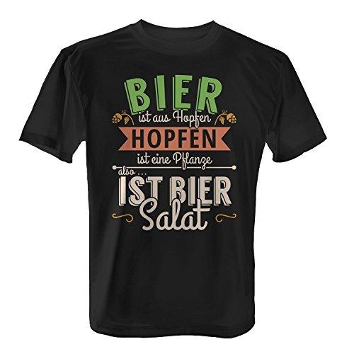 Bier ist aus Hopfen, Hopfen ist eine Pflanze, also ist Bier Salat - Herren T-Shirt von Fashionalarm | Fun Shirt Spruch Spaß Geschenk Freizeit Party Alkohol Vegetarier lustig, Farbe:schwarz;Größe:3XL (Großes Bier T-shirt)