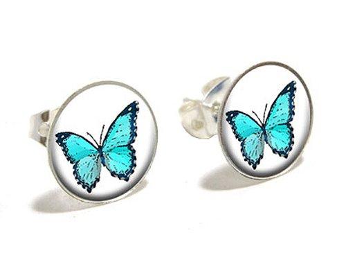 Preisvergleich Produktbild Schmetterling Neuheit, versilberte Ohrstecker