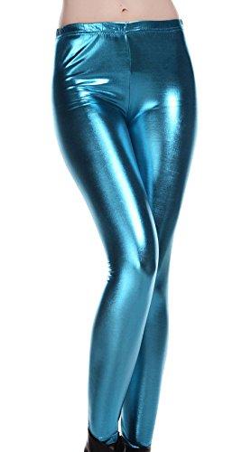 DELEY Donne Sexy Leggings Ecopelle Wet Look Lucido Metallizzato Novità Divertente Stretti Pantaloni Azzurro