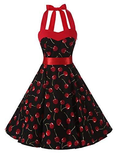 Kragen Kleid Kostüm - VKStar®Retro Chic ärmellos 1950er Audrey Hepburn Kleid/Cocktailkleid Rockabilly Swing Kleid Schwarz S