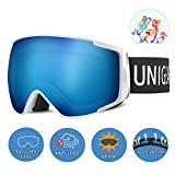 Unigear Gafas de Esquí OTG Esquiar Protección UV 400 Snowboard Revo Lentes Doble con Gran Campo de...