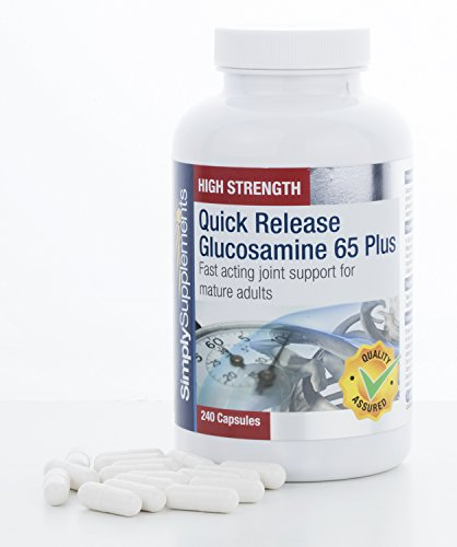 Quick Release Glucosamine 65 Plus | FAST acting joint support for the over 65's | 240 Capsules | 100% money back guarantee | Manufactured in the UK
