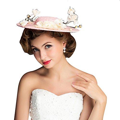 Icegrey Damen Fascinator Hut Haar Clip Brautmütze Mit Seiden Blumen Tüll Perle Rosa