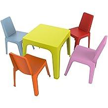 Resol Set Julieta - 1 Mesa Lima y 4 sillas roja, Rosa, Azul,