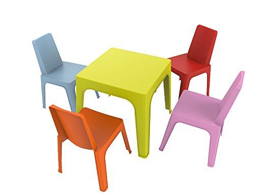 resol Julieta Set Infantil, 1 Mesa Lima + 4 Sillas Roja/Rosa/Azul/Naranja