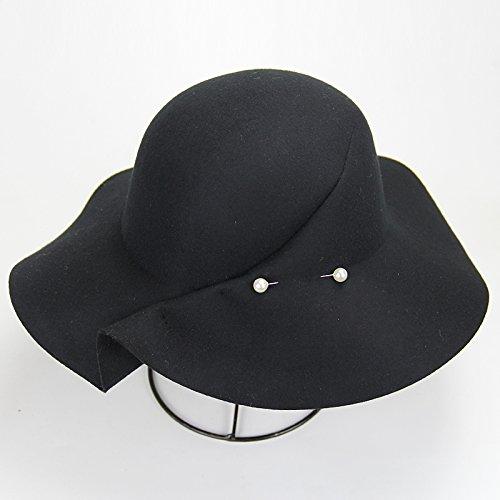 KYXXLD Einen großen Hut Mode Wolle hat Frau Mao Zhanmao schwarz