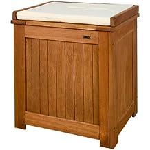 Stilista - Banco de jardín con almacenaje (madera dura al aceite, tapa automática, con cojín, 43 x 55 x 62 cm)