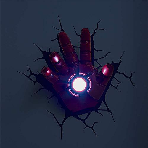 BLL Kinderzimmer dekorative Wandleuchte, Rächer Liga Iron Man Hand, Crack Wandaufkleber LED-Leuchten