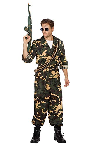 Camouflage-Anzug Herren-Kostüm grün Oberteil Hose Gürtel Tarnfarbe Militärunform Armee Army Luftwaffe Marine Karneval Fasching Hochwertige Verkleidung Fastnacht Größe 54 Grün-Camouflage