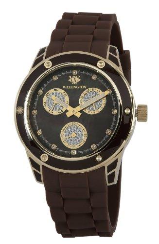 Wellington WN506-220 - Reloj analógico de cuarzo para mujer con correa de silicona, color marrón