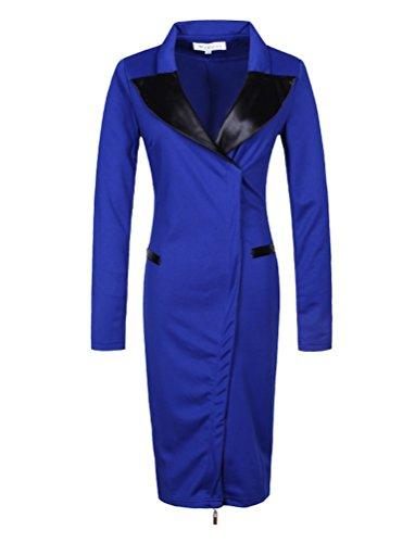 Ghope Manches Longue Elegant Peplum OL Business Robe Suit col Classique Tendance Mode jupe crayon Robe ,Noir/ Bleu ,XS - 4XL Bleu