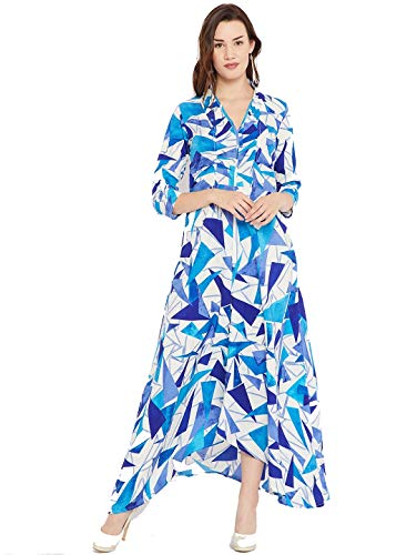 cottinfab Rayon a-line Dress (DSS9259C- Blue & White_XL)